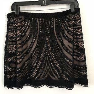 Zara black lace mini skirt